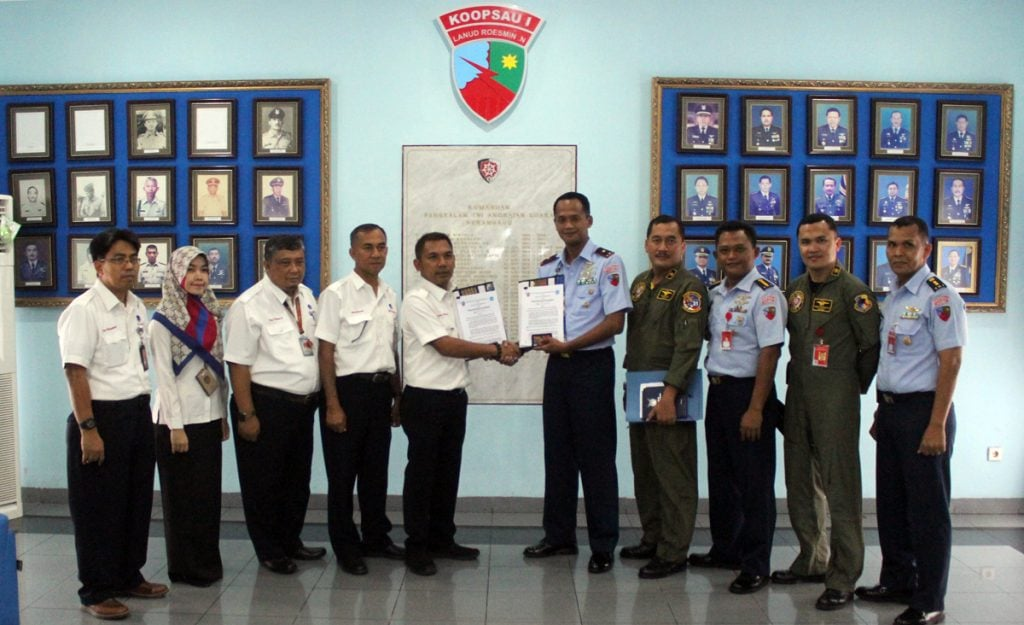 Penandatanganan LOCA antara Lanud Rsn dan LPPNPI Pekanbaru