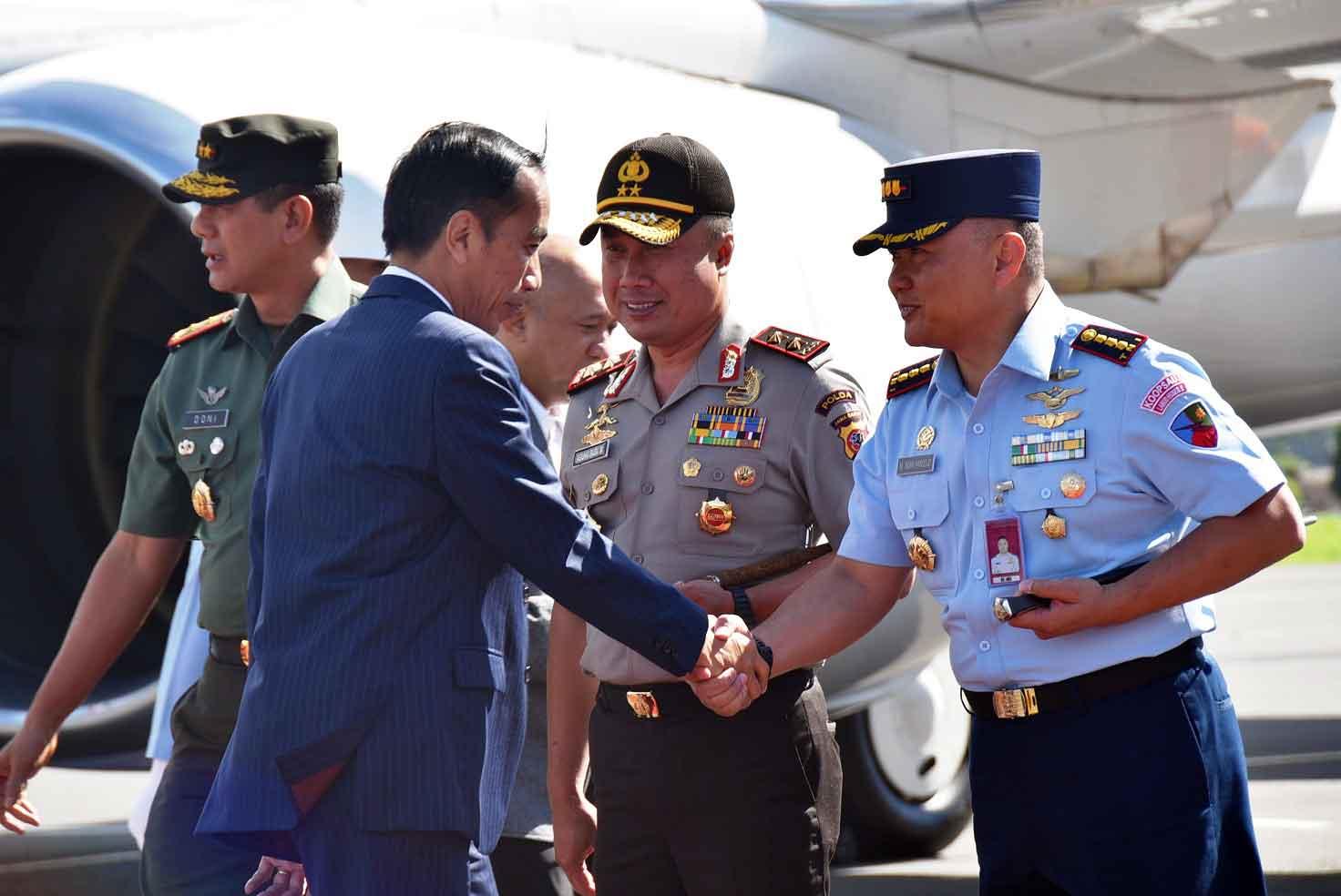 Danlanud Husein Satranegara Sambut Kedatangan Presiden Republik Indonesia