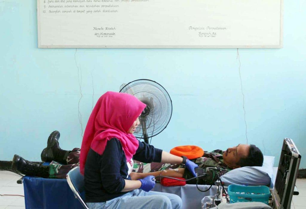 Bakti Sosial Donor Darah Personil Yonko 466 Paskhas