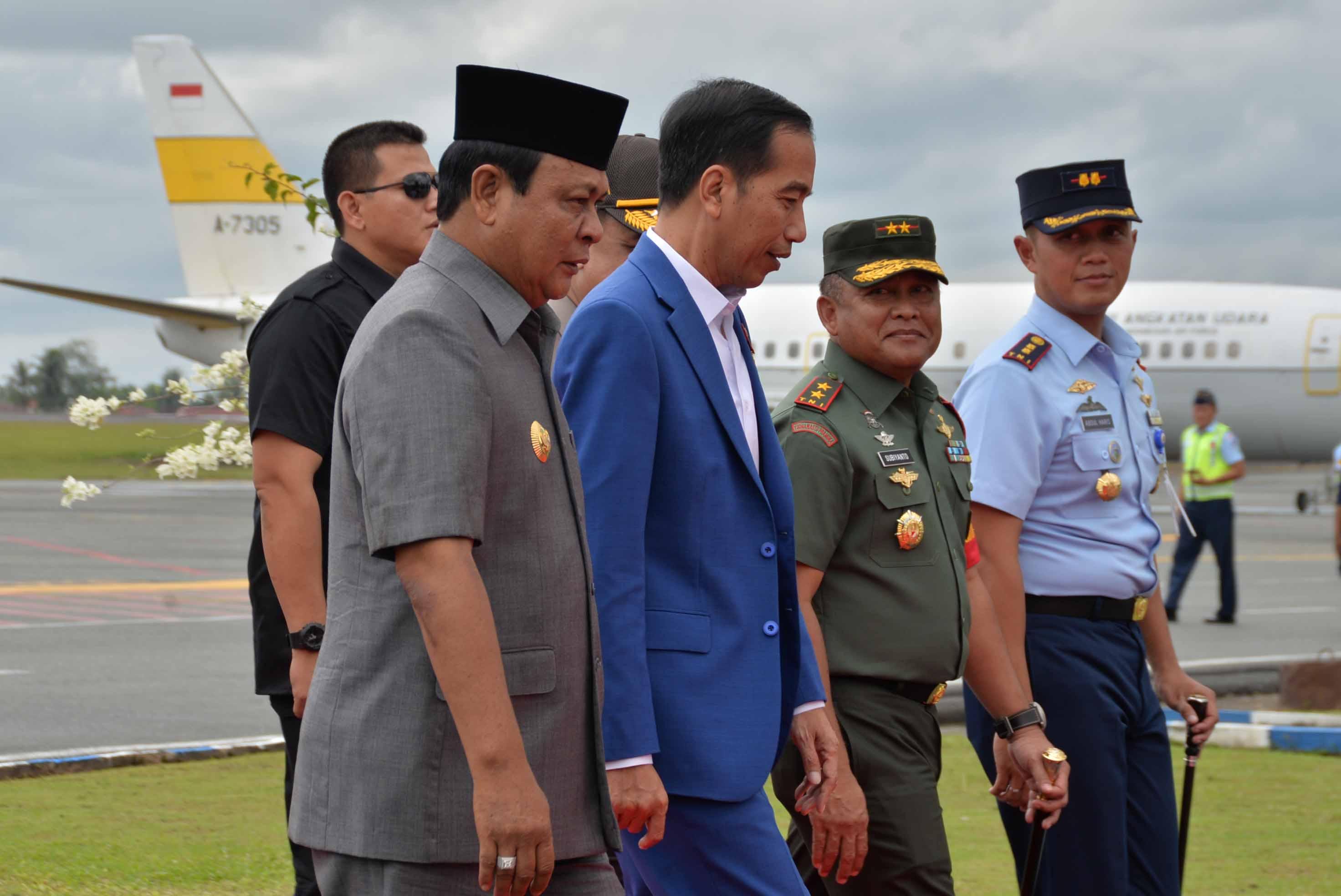Komandan Lanud Sjamsudin Noor Turut Sambut Kedatangan RI -1