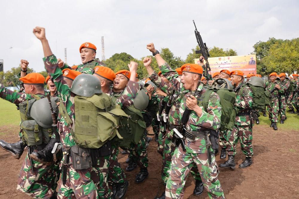 Penyambutan Satgaspamrahwan Papua Prajurit Komando 463 Paskhas