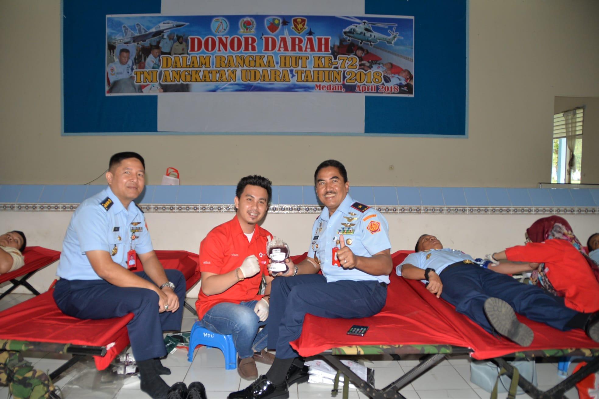 TNI AU Se-kota Medan Gelar Donor Darah Dalam Rangka Memperingati HUT TNI AU ke-72