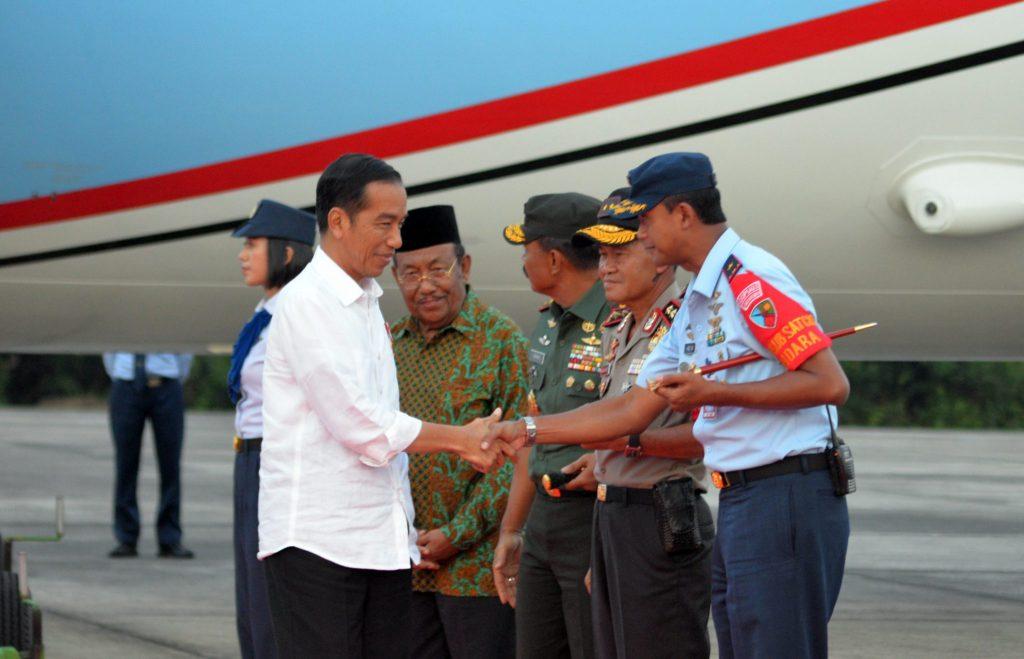 Danlanud Rsn Sambut Kedatangan Presiden RI di Riau