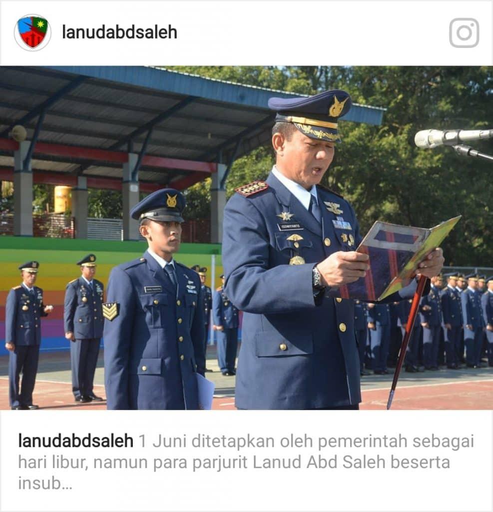 Lanud Abd Saleh Gelar Upacara Peringatan Hari Lahir Pancasila