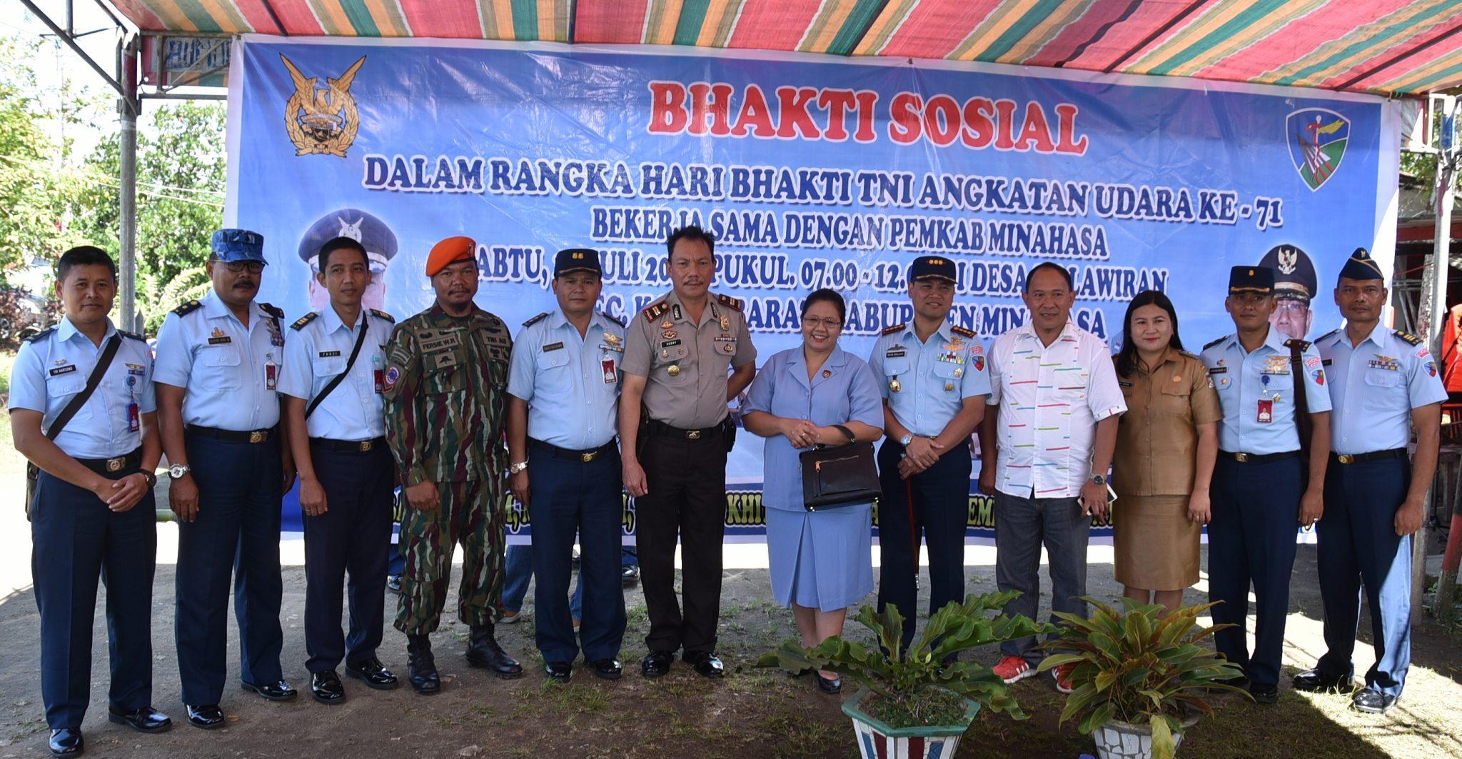 Bhakti Sosial Pemeriksaan Dan Pengobatan Gratis Lanud Sam Ratulangi Di Kabupaten Minahasa