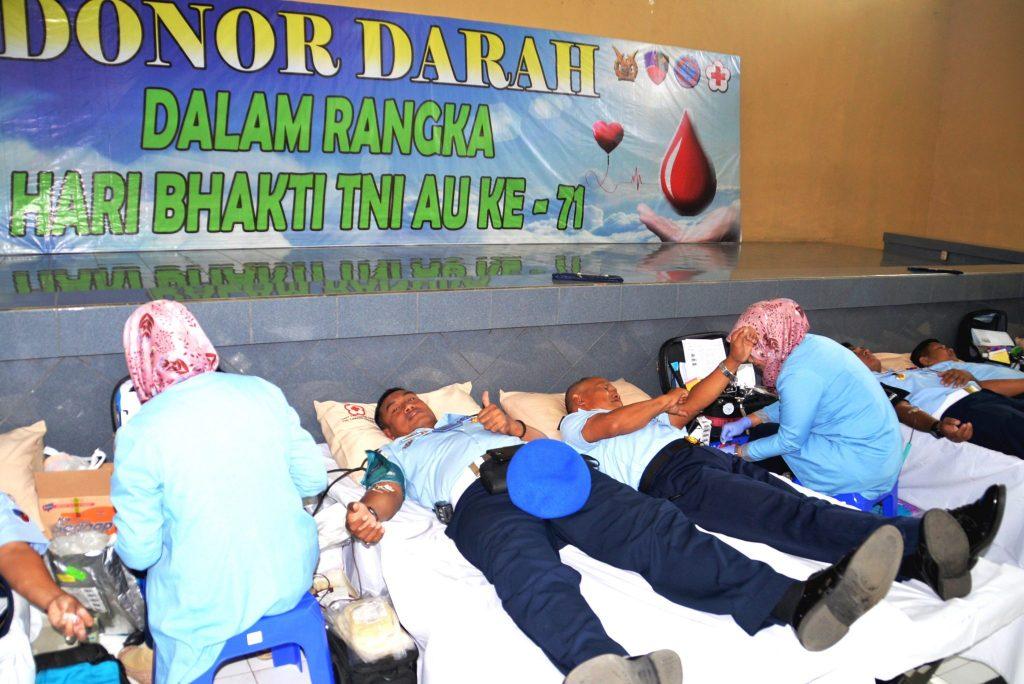 Peringati Hari Bhakti TNI AU Ke 71, Lanud Surabaya Selenggarakan Donor Darah