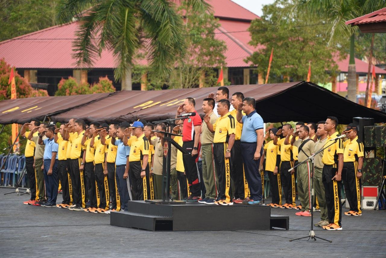Lanud Haluoleo Laksanakan Olah Raga Bersama TNI-Polri Sultra