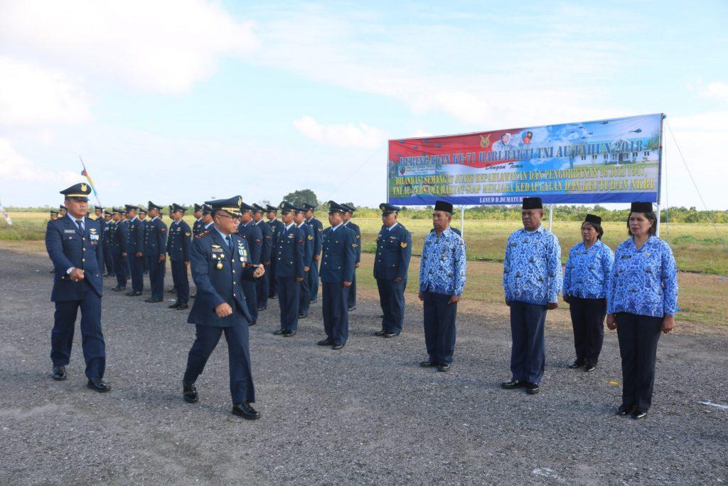Upacara Hari Bakti TNI AU Ke 71 Di Lanud Dominicus Dumatubun