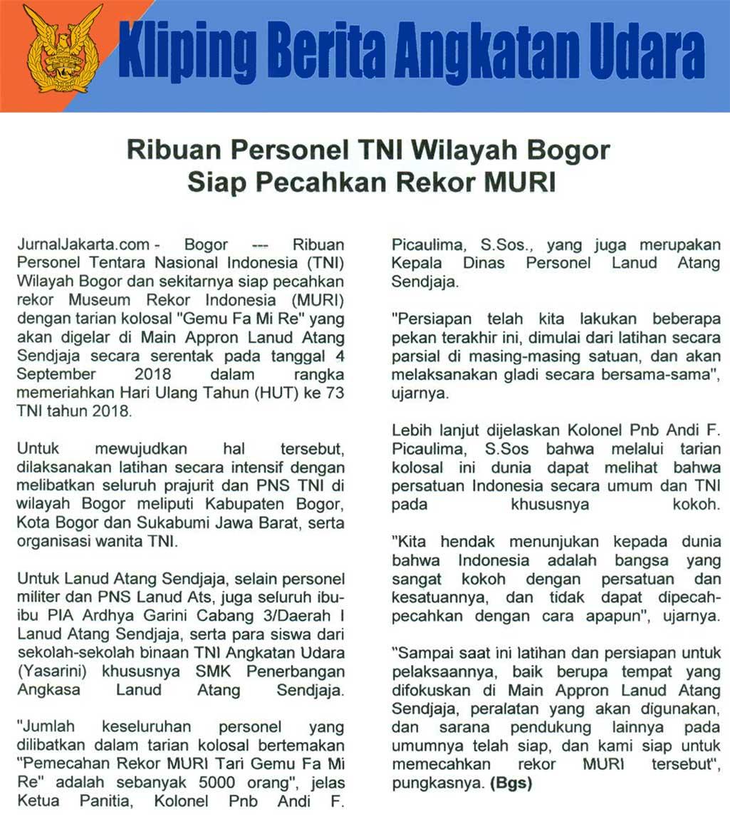 Kliping Berita Media, 31 Agustus 2018