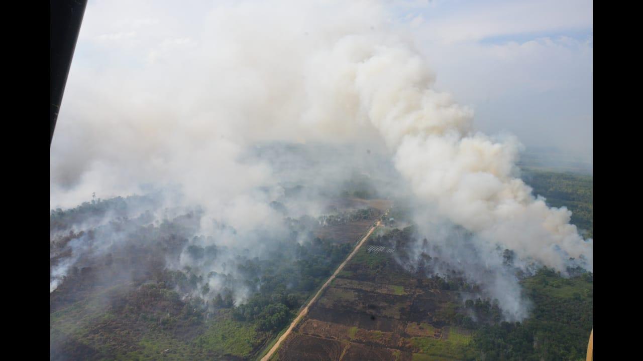 Helikopter Puma TNI AU Pantau Titik Api untuk Antisipasi Kebakaran Lahan