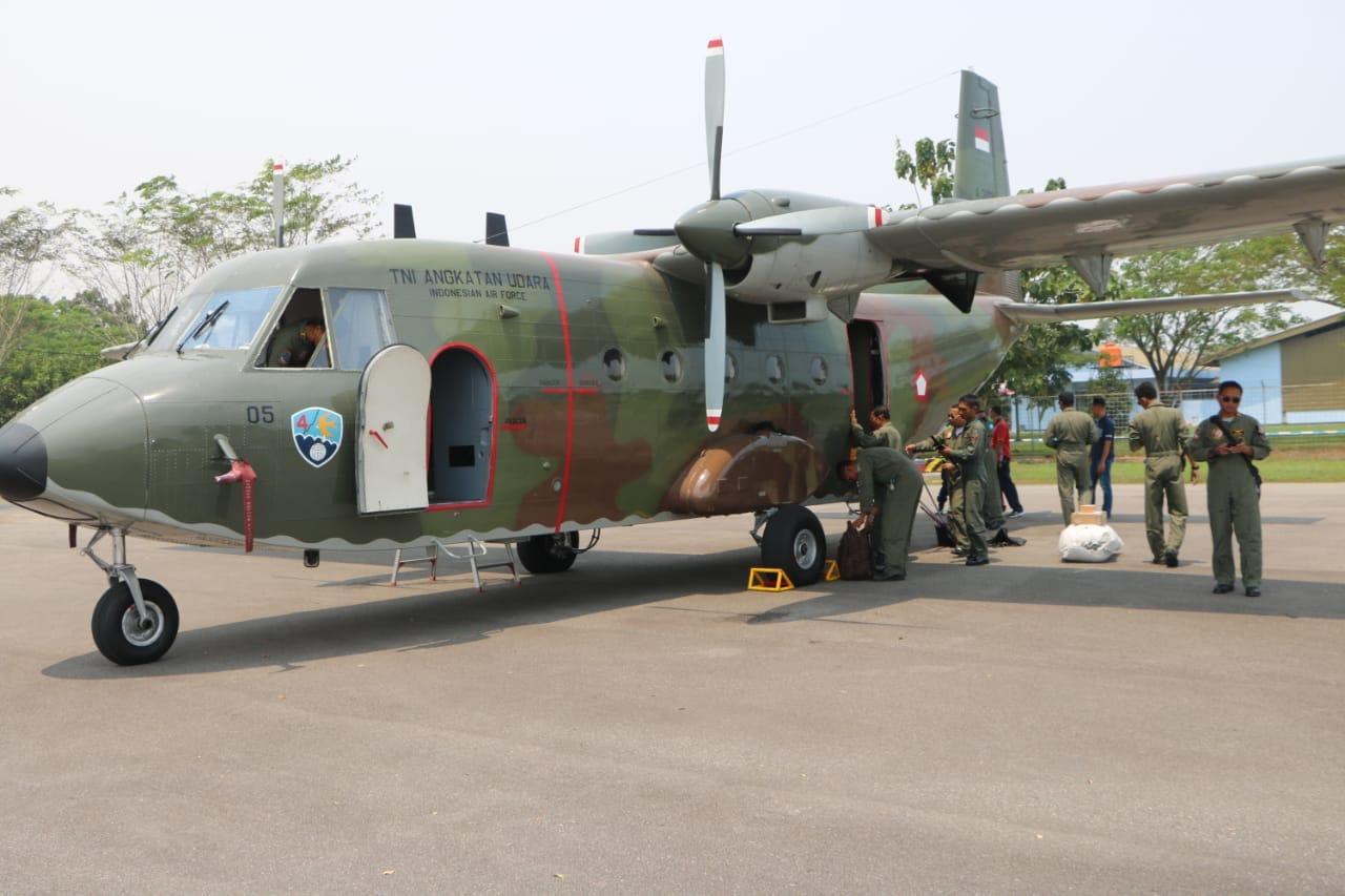 Lanud Supadio Siagakan Pesawat Cassa 212 Atasi Kebakaran Hutan dan Lahan di Kalbar