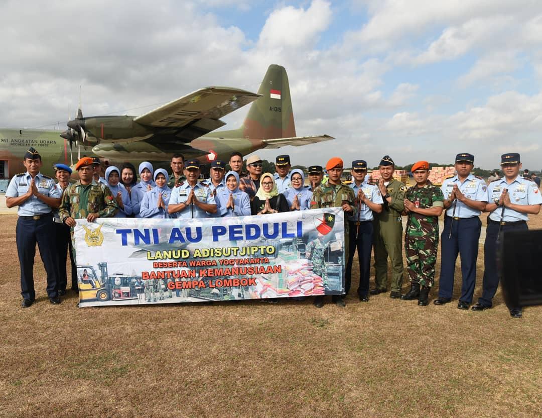 12 Ton Bantuan Kemanusiaan Dari Lanud Adisutjipto Dan Masyarakat Yogyakarta Diterbangkan Ke Lombok