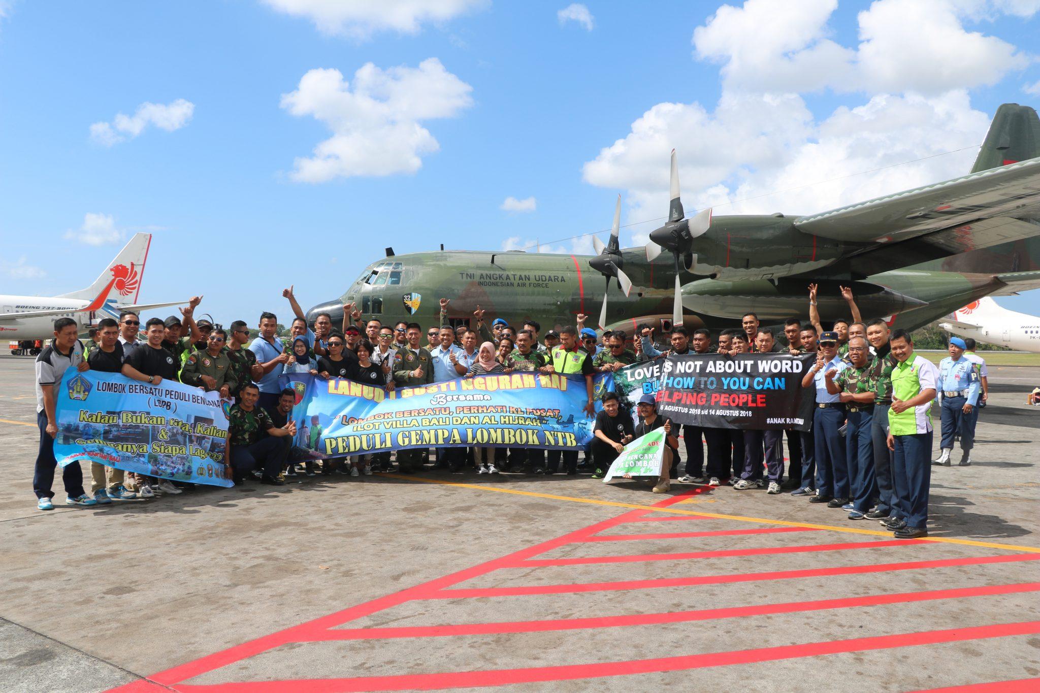 13 Ton Bantuan Gempa Lombok Dikirim dari Bali Menggunakan Hercules