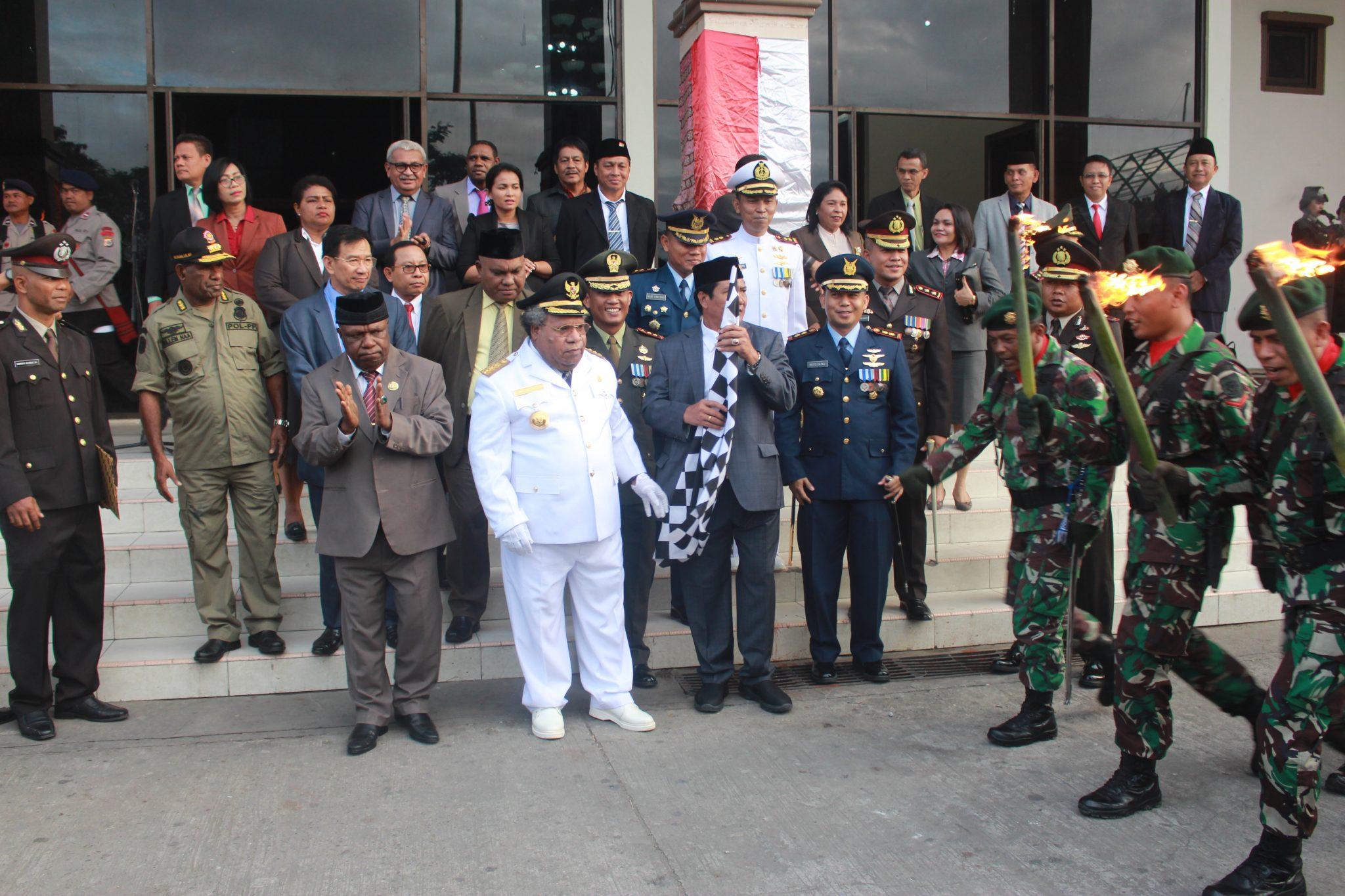 Pawai Taptu Meriahkan HUT Ke 73 Kemerdekaan RI di Kab. Mimika