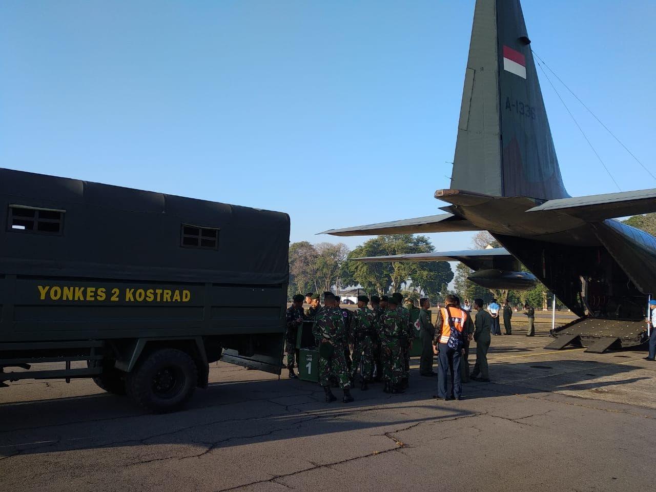 Untuk Distribusi Bantuan Gempa Lombok, Lanud Abd Saleh Kirim Bantuan dengan Pesawat Hercules