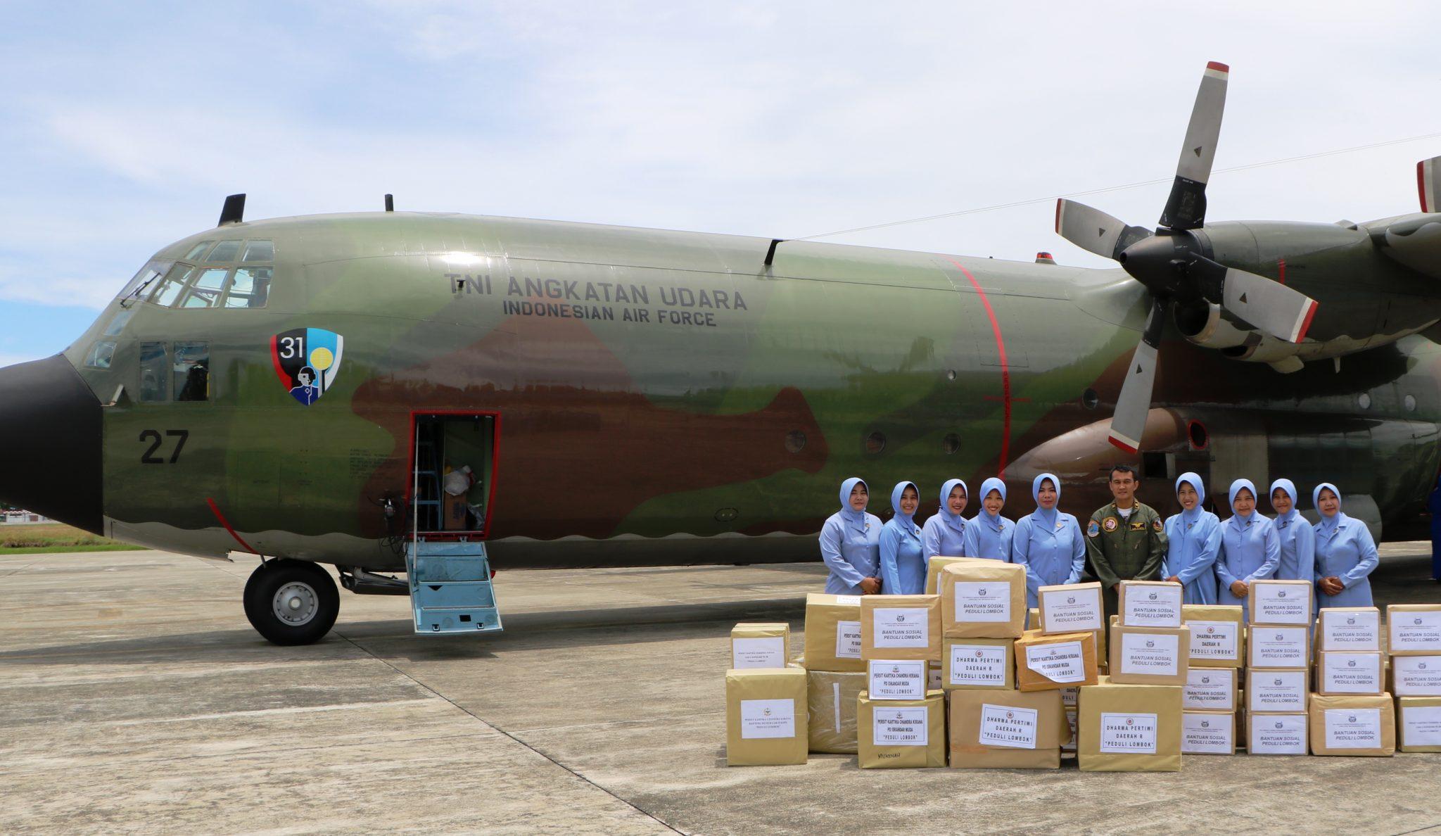 Peduli Korban Gempa Lombok, PIA AG Lanud Sim Kirim Bantuan