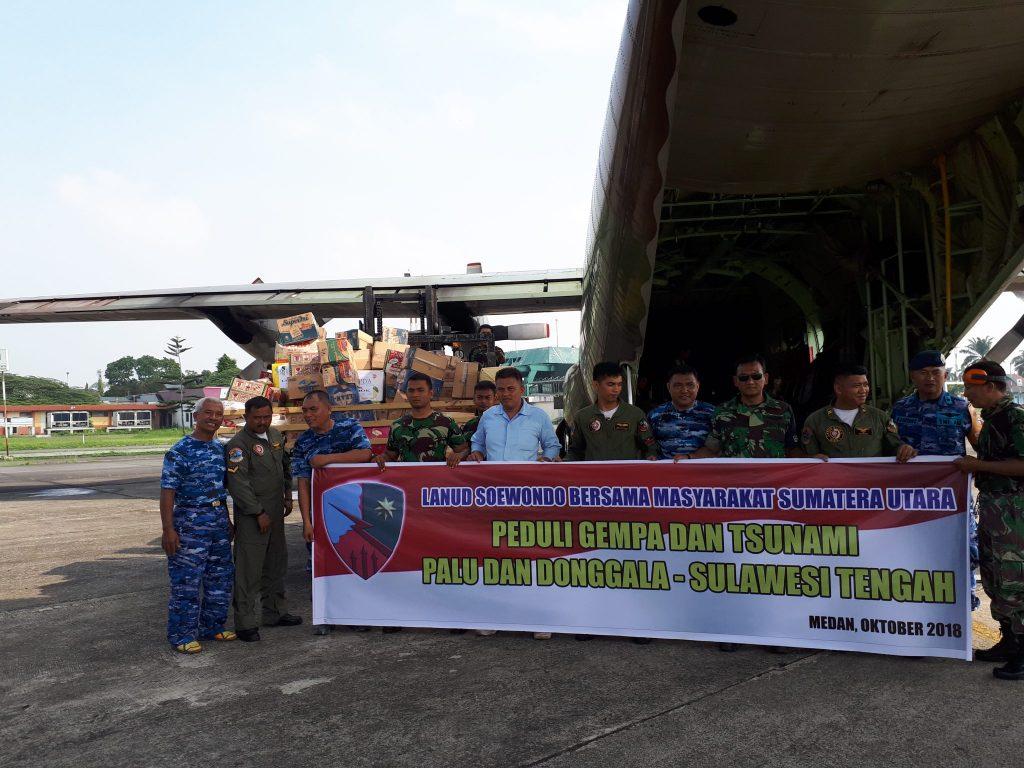 Lanud Soewondo Bersama Warga Medan Peduli Gempa dan Tsunami di Sulawesi Tengah