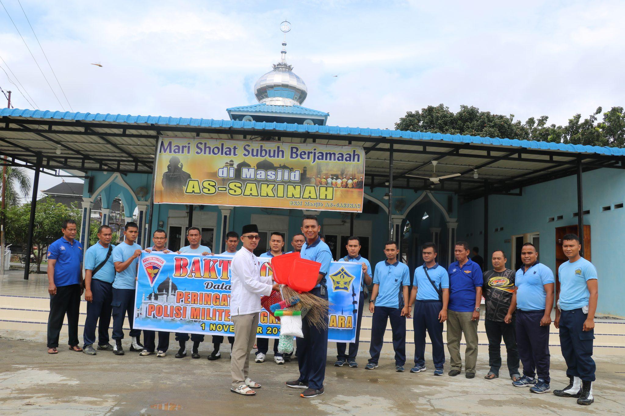 Dalam Rangka HUT ke-72 POMAU, Satpom Lanud Soewondo Membersihkan Tempat Ibadah