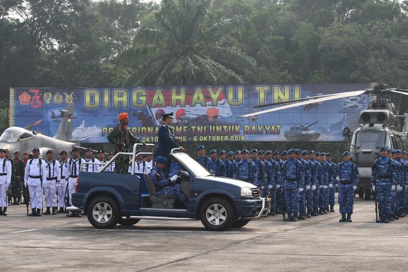 Danlanud Roesmin Nurjadin Irup Peringatan HUT TNI ke-73 di Riau