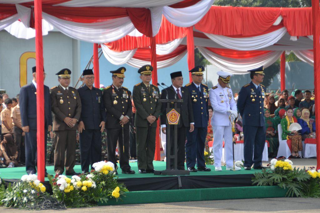 Personel Kosekhanudnas III Hadiri Peringatan HUT Ke-73 TNI Di Apron Lanud Swo