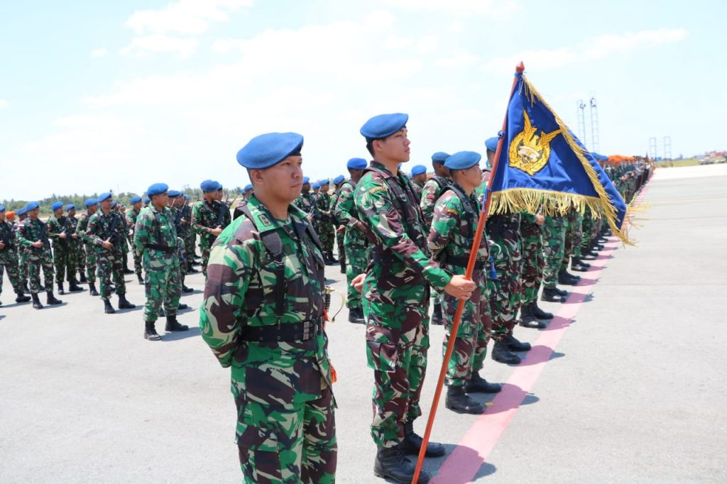 Personel Koopsau III dan Jajaran Ikuti Gladi Upacara HUT TNI ke 73 di Merauke