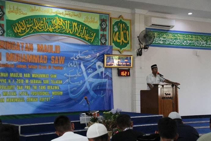 Satuan Bravo 90 Paskhas Peringati Maulid Nabi Muhammad SAW