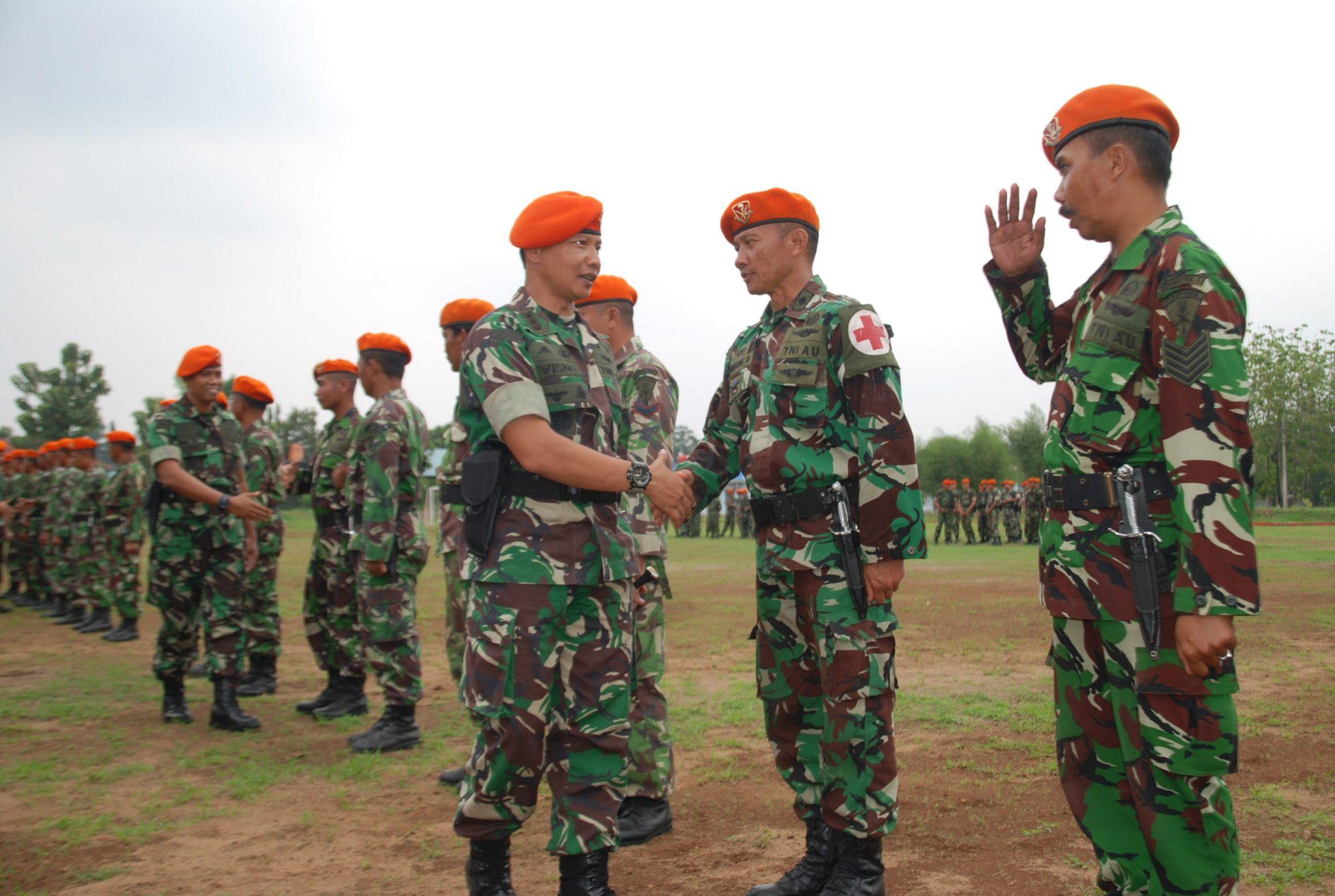 Penyambutan Satgas Bantuan Kemanusiaan Lombok di Wing I Paskhas