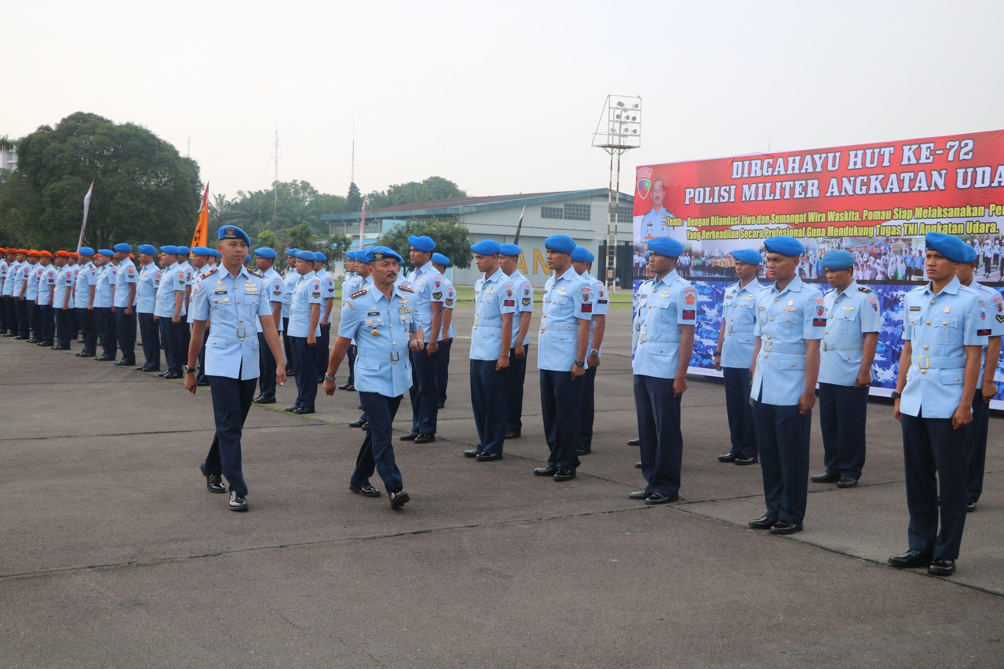 Upacara HUT ke-72 Polisi Militer Angkatan Udara di Medan