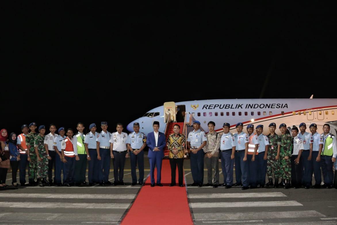 Danlanud Pangeran M. Bun Yamin Sambut Kedatangan Presiden Republik Indonesia Ir. H. Joko Widodo di Bandara Radin Inten II Lampung.