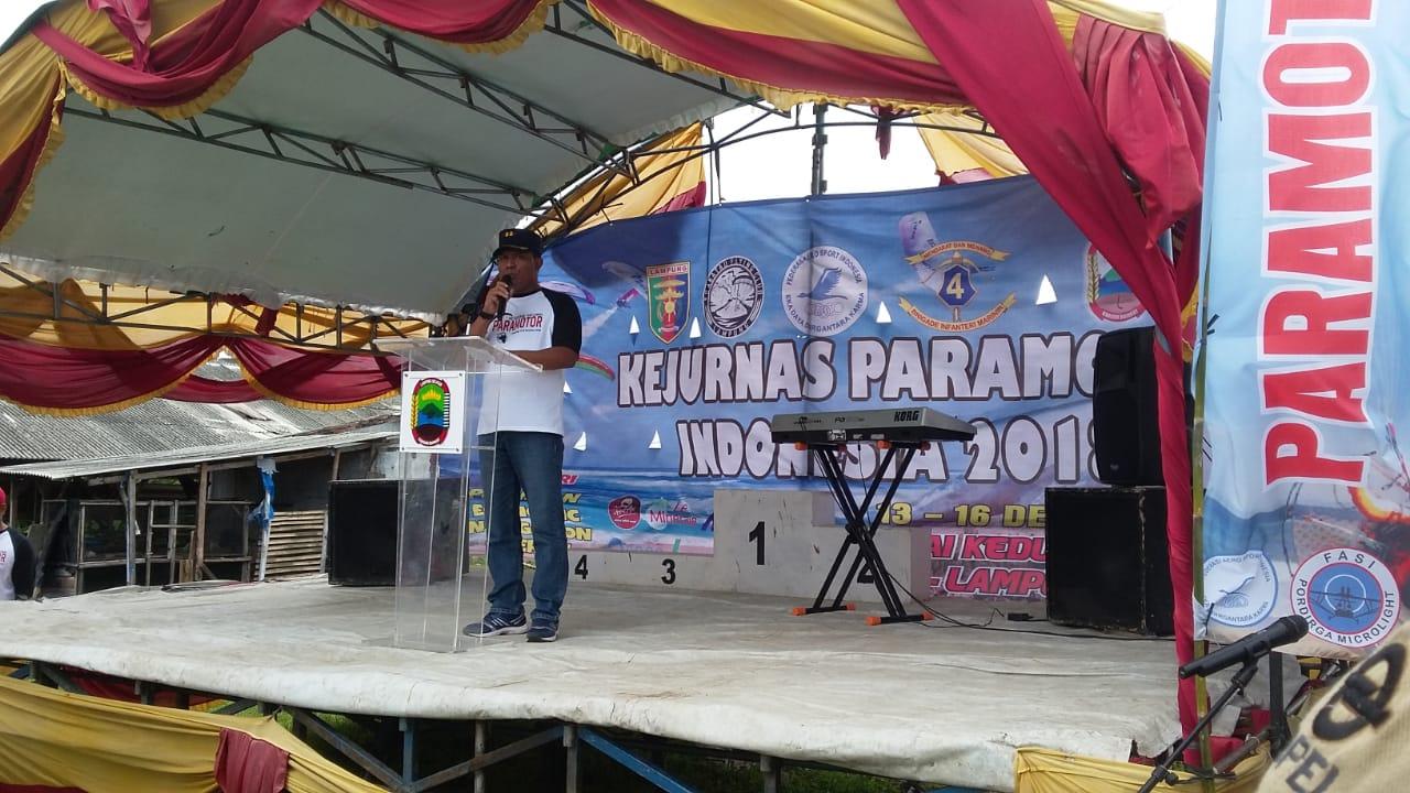 Danlanud Pangeran M. Bun Yamin Selaku Ketua Fasi Daerah Lampung Menghadiri Acara Pembukaan Kejurnas Paramotor Tahun 2018