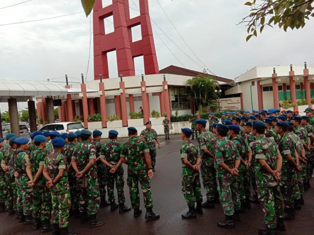 Jelang Nataru Lanud Smh Gelar Apel Gabungan dengan Kepolisian dan Avsec Bandara SMB II