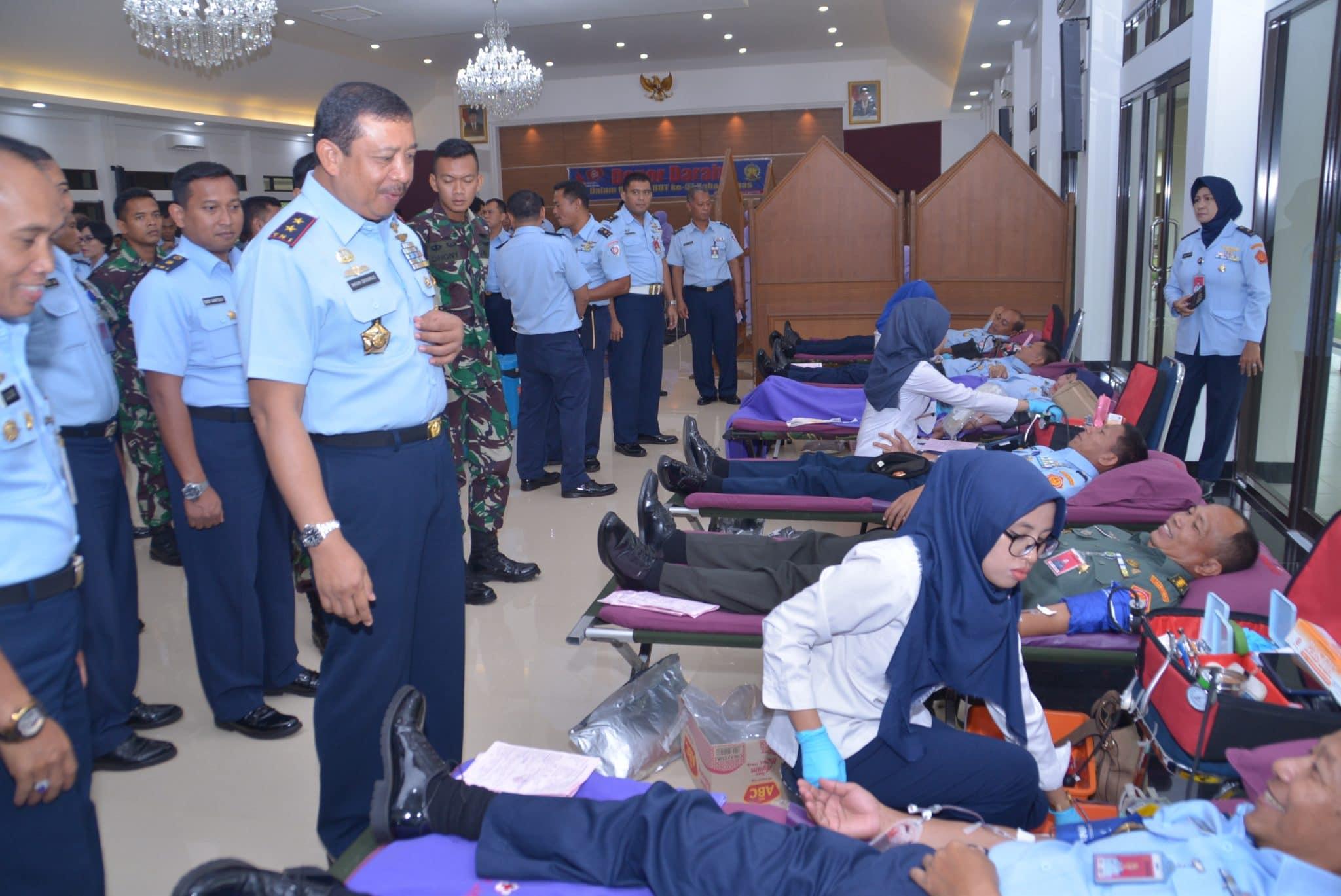 Donor Darah Personel TNI AU di Halim Jelang HUT Kohanudnas ke-57