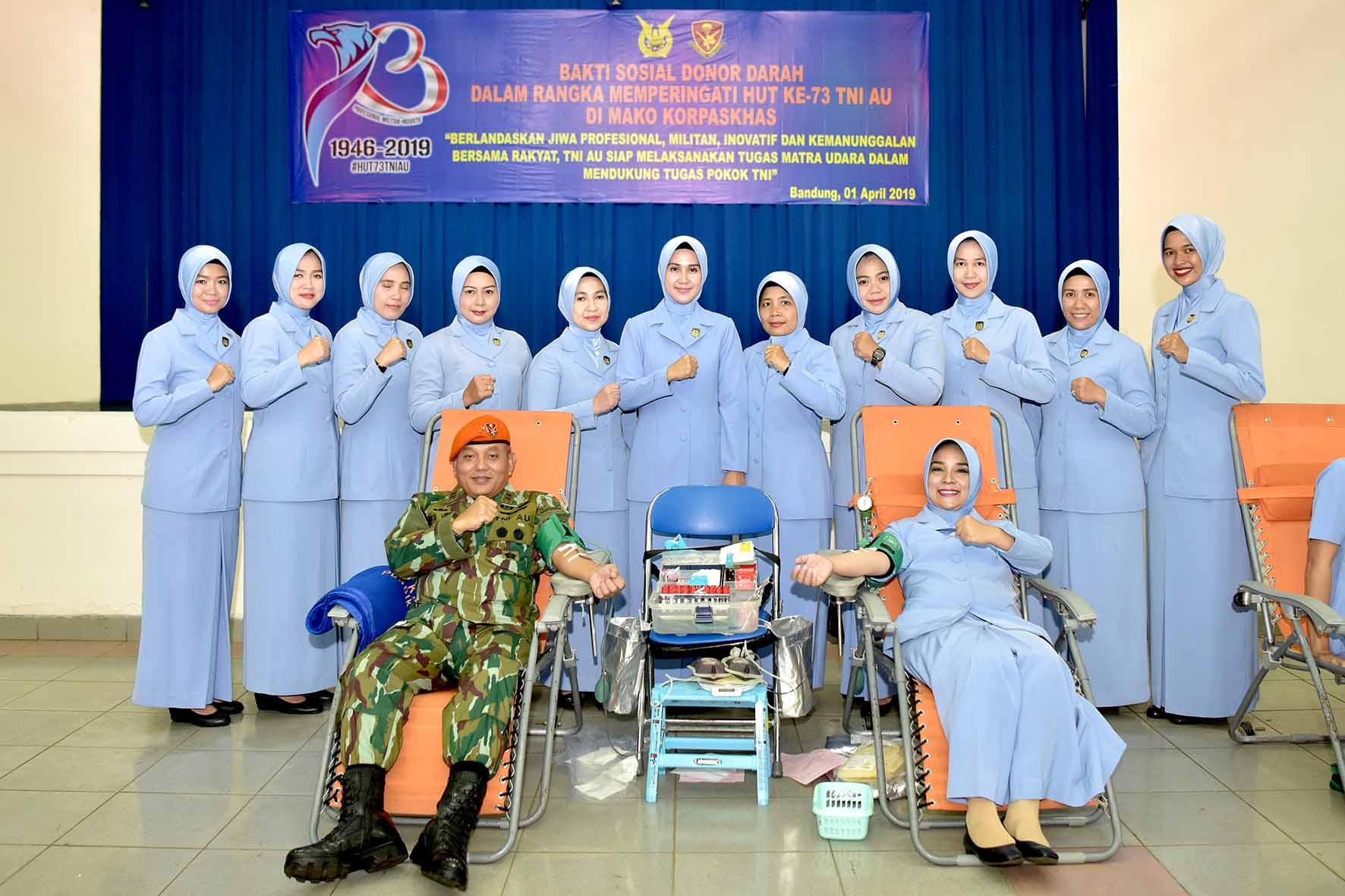 Donor Darah Dalam Rangka HUT KE-73 TNI AU di Mako Korpaskhas