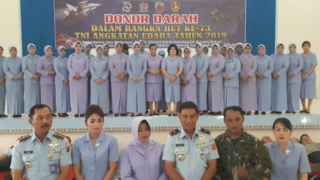 Sambut Hut Ke-73, TNI AU Wilayah Medan Melaksanakan Donor Darah