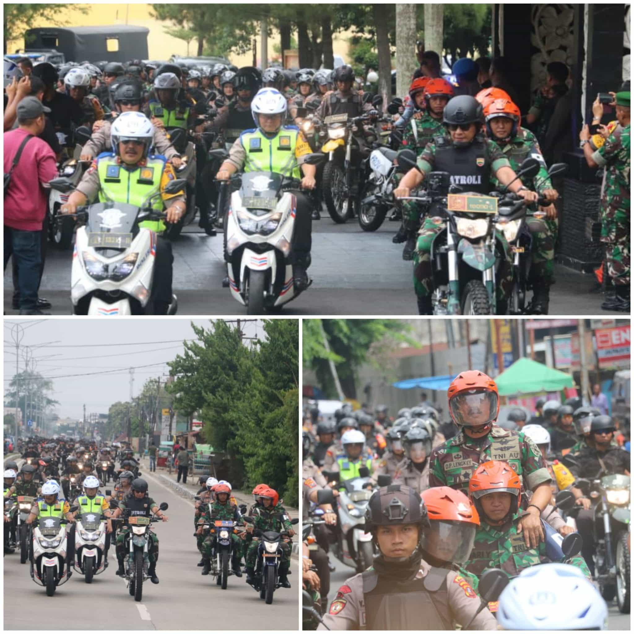 Danlanud Soewondo Ikut Patroli Pengamanan Pemilu Menggunakan Sepeda Motor Trail