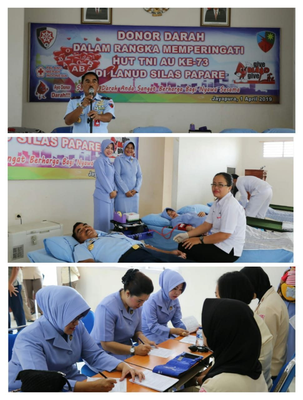 Peringati HUT TNI AU Ke-73 Lanud Silas PapareLaksanakan Donor Darah