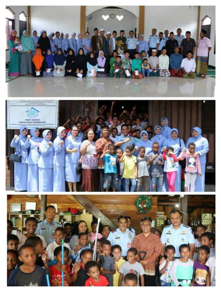 Peringati HUT ke-73 TNI AU Lanud Silas Papare Anjangsana ke Panti Asuhan