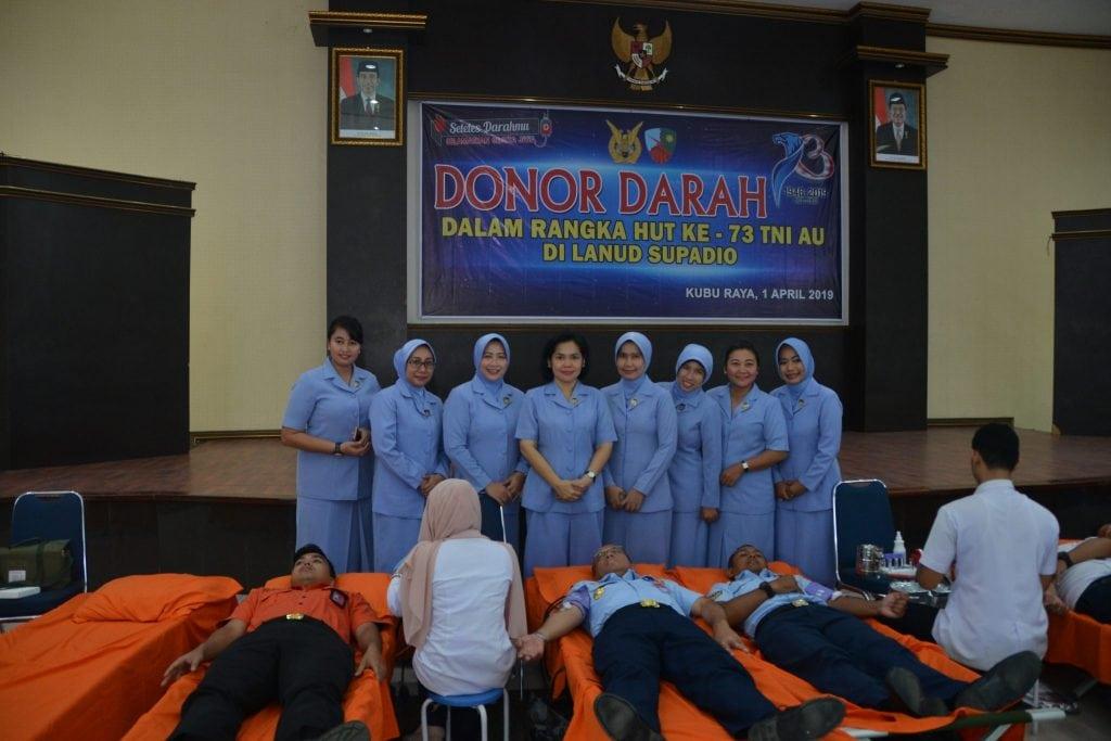 Aksi Sosial Donor Darah Sambut HUT TNI AU ke 73 di Lanud Supadio