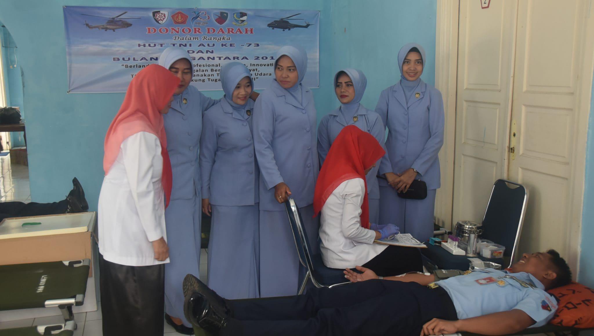 Memperingati HUT TNI AU Ke-73 Lanud Maimun Saleh Laksanakan Donor Darah