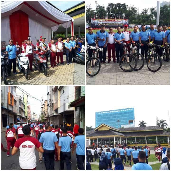 Olahraga Bersama Tni, Polri, Pemda Dan Masyarakat Di Medan Dalam Rangka Hut Bhayangkara Ke-73
