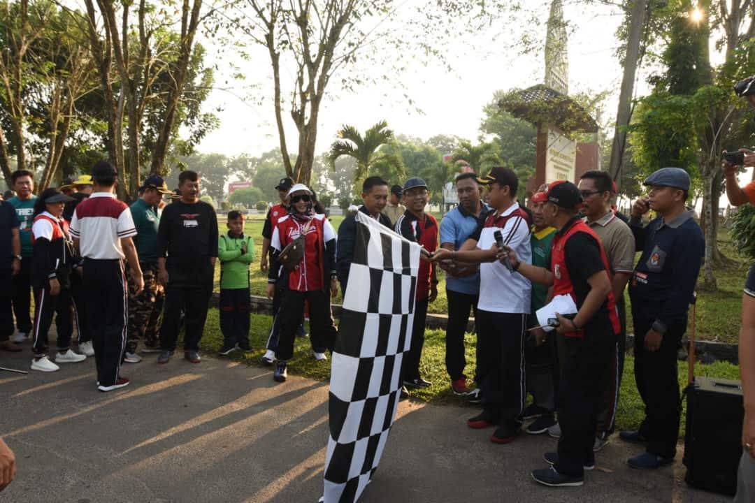 Olahraga Bersama TNI–Polri dalam rangka HUT Bhayangkara ke-73 di Kabupaten Tulang Bawang