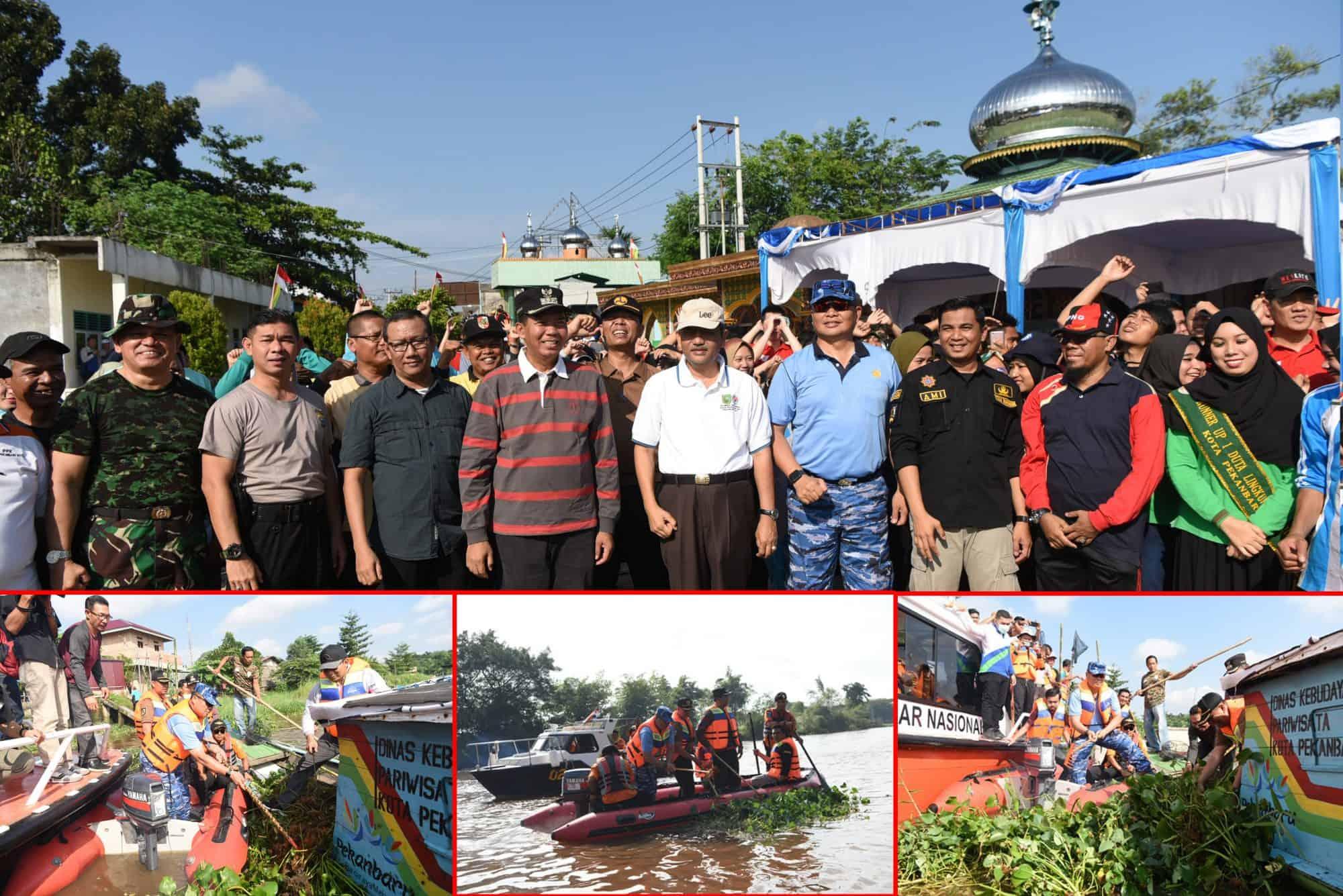 Menyambut Hari Jadi Kota Pekanbaru Danlanud Rsn Bersihkan Sungai Siak