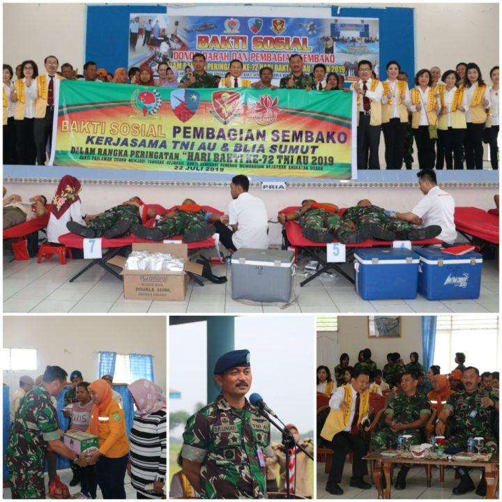 Tni Au Wilayah Medan Gelar Bakti Sosial Donor Darah Dan Pembagian Sembako