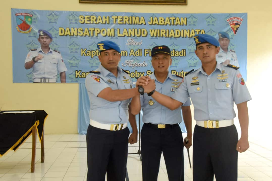 Komandan Lanud Wiriadinata Pimpin Sertijab Komandan Satuan Polisi Militer Lanud Wiriadinata