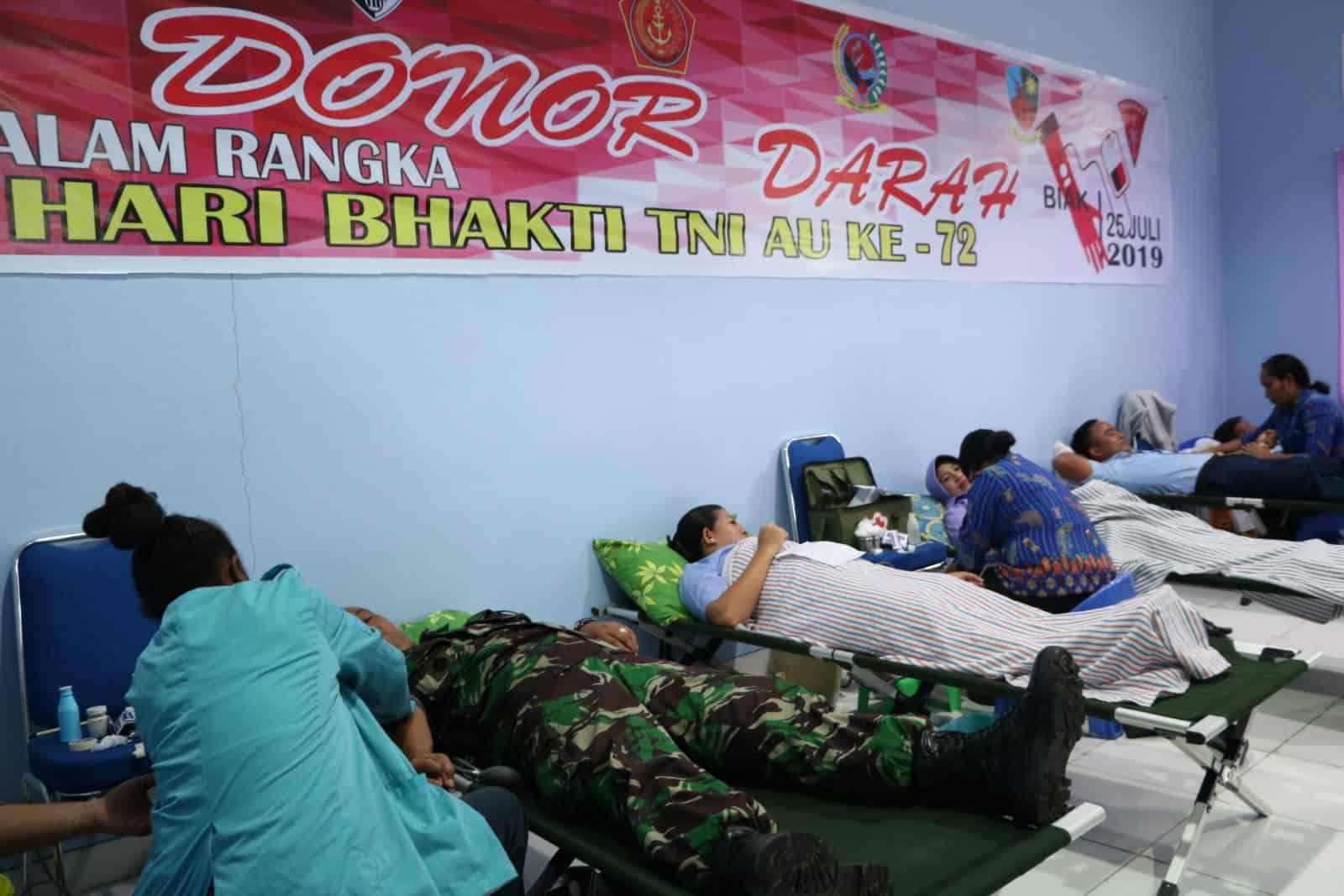 Donor Darah Peringati Hari Bakti Ke 72 Tni Au Di Biak