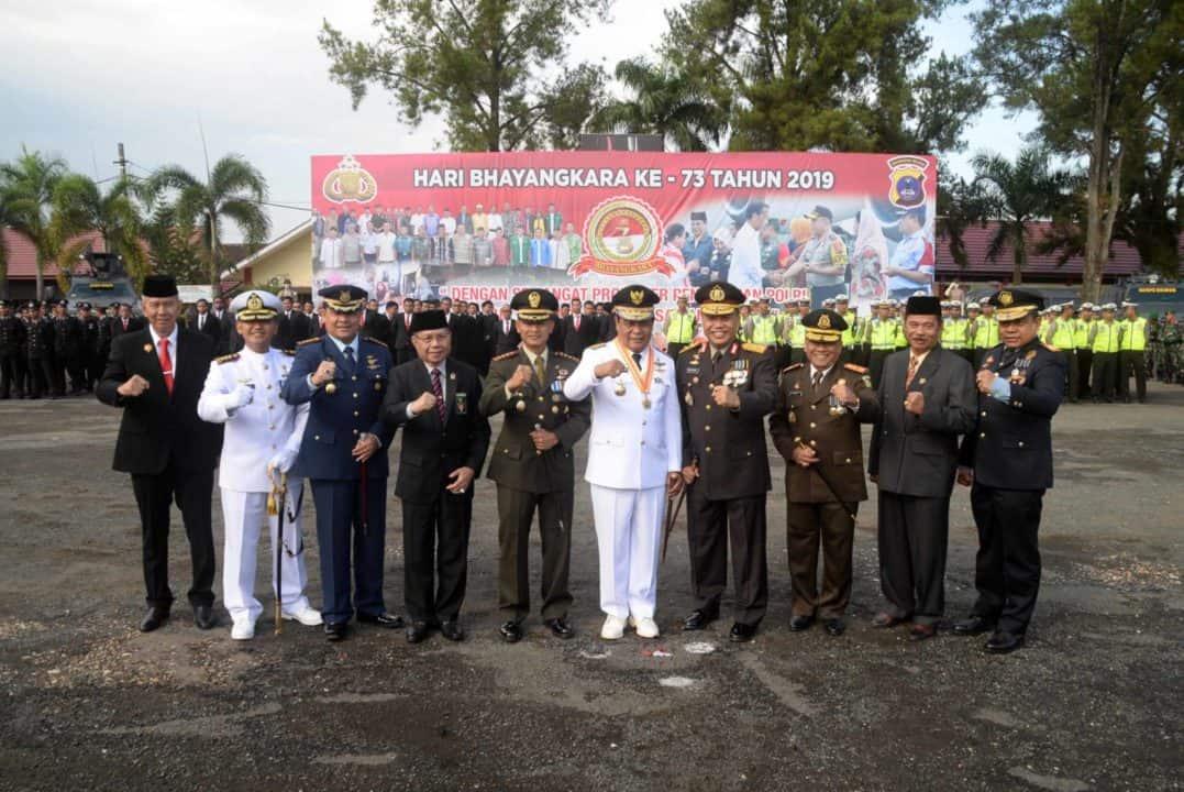 Lanud Sjamsudin Noor Ikuti Upacara Hut Bhayangkara Ke-73 Di Spn Polda Kalimantan Selatan