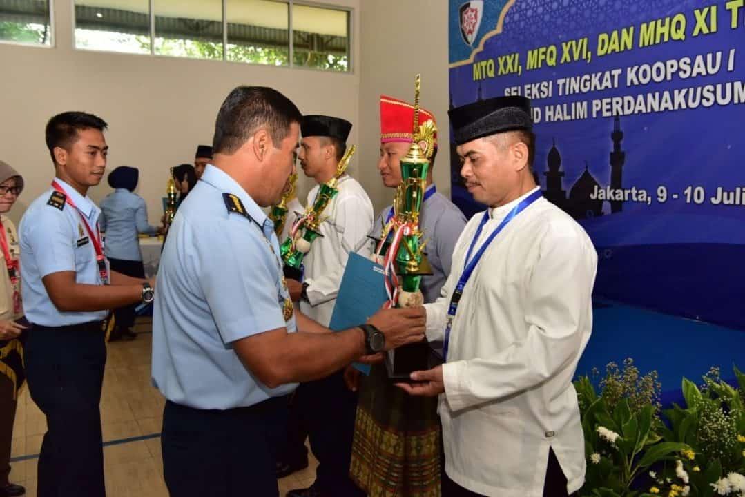 Dua Kafilah Lanud Halim Perdanakusuma Raih Juara I Pada Seleksi Mtq, Mfq Dan Mhq Tingkat Koopsau I