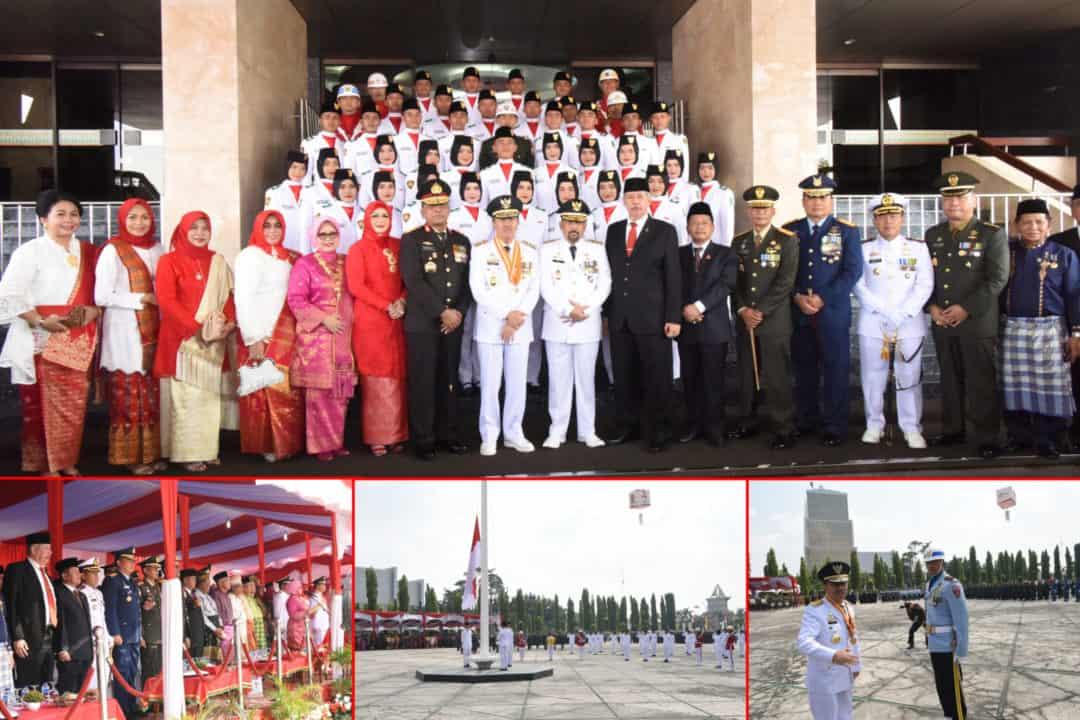 Danalanud RSN Hadiri Detik-Detik Proklamasi Kemerdekaan RI ke-74 di Provinsi Riau