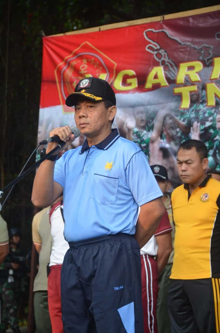 Danlanud Ats Ikuti Olahraga Bersama TNI-POLRI