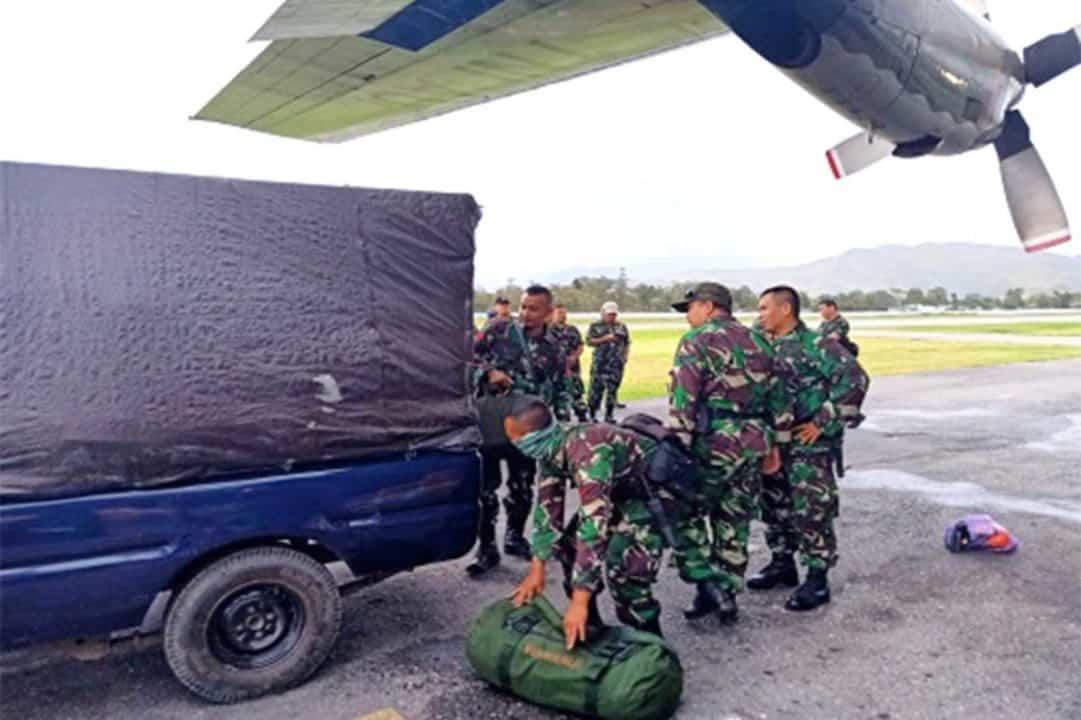 Satgas Pamrahwan Batalyon Komando 462 Paskhas Pos Wamena Tiba Di Bandara Wamena